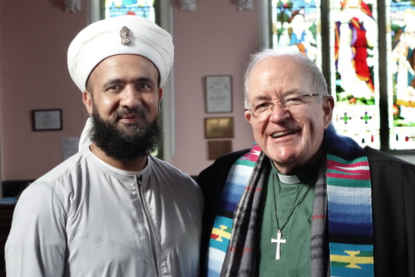 Service leaders Rauf Bashir and Rev Jim Corrigall in  Padiham Unitarian Chapel.     Photo: John Hewerdine